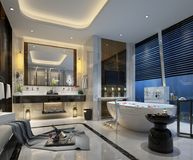 3D render of bathroom. 3D render of modern bathroom with bathub Stock Photo