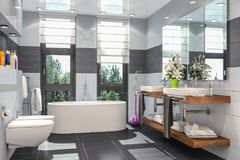 3d render of a modern bathroom. In white and black with bathtub, toilet, bidet and two washbasins with a large mirror Stock Images