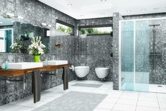 3d render of a modern bathroom. 3d render of a modern bathroom in white and black with shower,  bathtub, toilet, bidet and two washbasins with a large mirror Royalty Free Stock Image