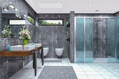 3d render of a modern bathroom. 3d render of a modern bathroom in white and black with shower,  bathtub, toilet, bidet and two washbasins with a large mirror Royalty Free Stock Images