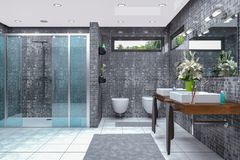 3d render of a modern bathroom. 3d render of a modern bathroom in white and black with shower,  bathtub, toilet, bidet and two washbasins with a large mirror Royalty Free Stock Photos