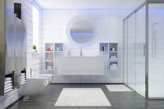 3d render of a modern bathroom. In white and black with shower, wall-mounted cabinets, toilet and a large round mirror Royalty Free Stock Photos