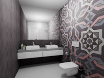 3D render modern bathroom. Modern design interior of blue bathroom. 3D render, top view Royalty Free Stock Photos