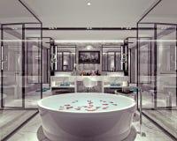 3D render of bathroom. 3D render of modern bathroom with jacuzzi Stock Image