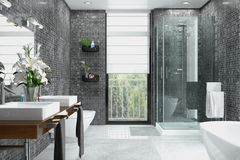 3d render of a modern bathroom. 3d render of a modern bathroom in white and black with shower,  bathtub, toilet, bidet and two washbasins with a large mirror Stock Photo