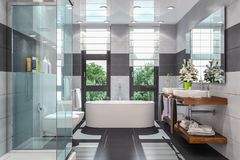 3d render of a modern bathroom. In white and black with shower,  bathtub, toilet, bidet and two washbasins with a large mirror Royalty Free Stock Photography