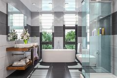 3d render of a modern bathroom. In white and black with shower,  bathtub, toilet, bidet and two washbasins with a large mirror Royalty Free Stock Images