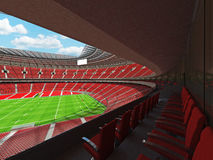 3D render of modern beautiful round rugby stadium with red seats and VIP boxes Stock Photography