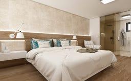 3D Render Modern Bedroom. 3D render of a beige modern/luxurious bedroom. Exclusive design. The bedroom is connected with a bathroom. CADFACE design vector illustration