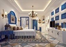 3d render of modern blue bedroom. 3d render of blue color stylish luxury hotel bedroom vector illustration