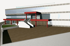 3D render of modern building Royalty Free Stock Photography