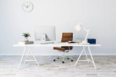 3d render of modern computer workplace. Setup stock illustration