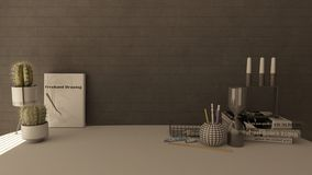 3D Render of a modern home office stock images