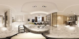 3d render of modern house interior. 360 degrees view Royalty Free Stock Photography