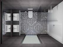 3D render modern interior of bathroom. Modern design interior bathroom. 3D render, top view Stock Photo