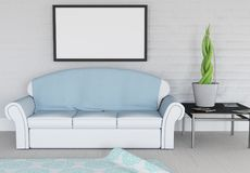 3D modern lounge interior with blank picture hanging on wall. 3D render of a modern lounge interior with blank picture hanging on wall Stock Image