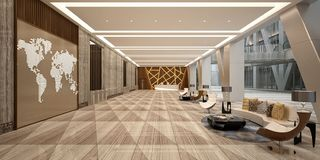 3d render of hotel lobby. 3d render of modern luxury hotel lobby reception stock illustration