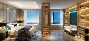3d render of hotel room. 3d render of modern luxury hotel room stock illustration