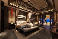 3d render of hotel room. 3d render of modern luxury hotel room vector illustration