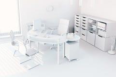 3d render of modern office interior. Workspace concept stock illustration