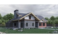 3d render of a modern private house stone texture facade with green lawn and trees. Illustration Stock Photography