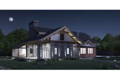 3d render of a modern private house stone texture facade, illuminated night view. Illustration Stock Photography