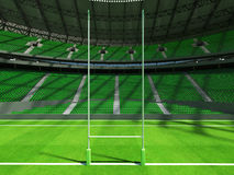 3D render of modern round rugby stadium with  green seats and VIP boxes Stock Photo
