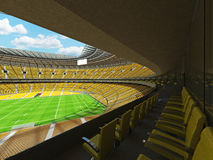 3D render of modern round rugby stadium with  yelow seats and VIP boxes Royalty Free Stock Images