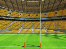 3D render of modern round rugby stadium with  yelow seats and VIP boxes Stock Photo