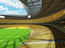 3D render of modern round rugby stadium with  yelow seats and VIP boxes Royalty Free Stock Image