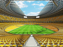 3D render of modern round rugby stadium with  yelow seats and VIP boxes Stock Images