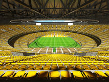 3D render of modern round rugby stadium with  yelow seats and VIP boxes Stock Photography