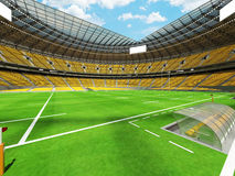 3D render of modern round rugby stadium with  yelow seats and VIP boxes Royalty Free Stock Photos