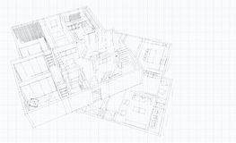 3d render modern sketch apartment. 3d render sketch balck and white apartment and plan Royalty Free Stock Photography