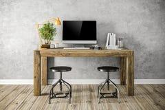 3d render of modern workplace setup. 3d render of beautiful modern workplace setup royalty free illustration