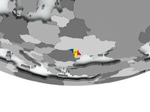 Moldova with flag on globe Royalty Free Stock Photography