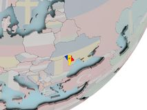 Moldova on globe with flags Stock Photography