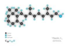 3d render of molecular model and formula of vitamin A1. 3d render of molecular model with molecular formula of vitamin A1 over white background Royalty Free Illustration