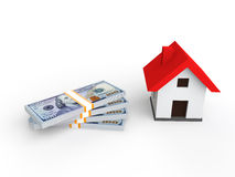 3d render of money and house. 3d render of stack of money and house model Royalty Free Stock Image