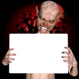 3d render of a monster holding placard Royalty Free Stock Image