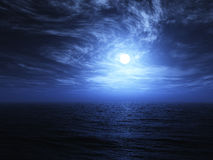 3D render of moon and sea background Royalty Free Stock Photo