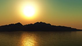 3D mountains at sunset Stock Photography