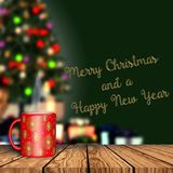 3D render of a mug on a wooden table with  defocussed Christmas Royalty Free Stock Image