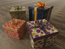 3D render of a multicolor wrapped holiday presents with ribbons Stock Image