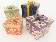 3D render of multicolour wrapped holiday presents with ribbons on white background Stock Photos