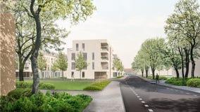 3D render: multistory living houses. 3D render. Urban design - view to the modern multistory living houses, multifamily blocks royalty free illustration