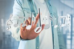 3d render music notes on a futuristic interface. View of 3d render music notes on a futuristic interface Stock Photos