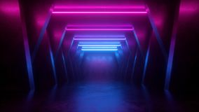 3d render, neon abstract background, empty room, tunnel, corridor, glowing lines, geometric, ultraviolet light. 3d render neon abstract background, empty room royalty free illustration