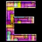 3D render of neon bricks alphabet letter E. 3D render of neon bricks pattern alphabet capital letter Stock Photo