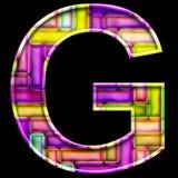 3D render of neon bricks alphabet letter G. 3D render of neon bricks pattern alphabet capital letter Stock Images